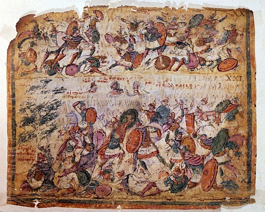 Battle scene from a manuscript of Homer Iliad c300 AD. Biblioteca Ambrosiana Milan. : Stock Photo