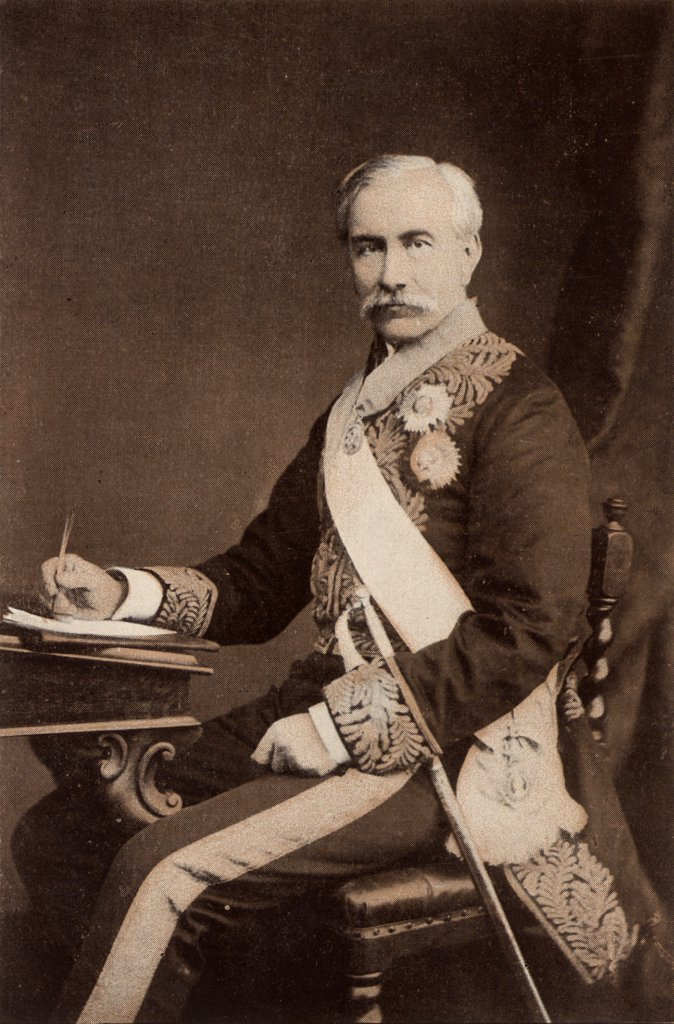 Stock Photo: 1746-4983 (Henry) Bartle (Edward) Frere (1815-84) British colonial administrator, born at Clydach, Breckonshire, Wales. Governor of Bombay (Mumbai) 1862-1867. Appointed governor of the Cape and High Commissioner in South Africa in 1877, recalled in 1880 because of his treatment of the Zulus. Engraving from  The Illustrated London News (London, 7 June 1884).