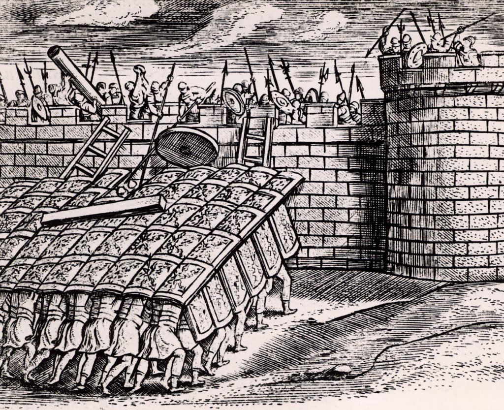 Stock Photo: 1746-5009 Roman soldier forming a 'tortoise' with their shields, thus enabling them to approach the walls of a besieged city.   From Poliorceticon sive de machinis tormentis telis by Justus Lipsius (Joost Lips) (Antwerp, 1605). Engraving.