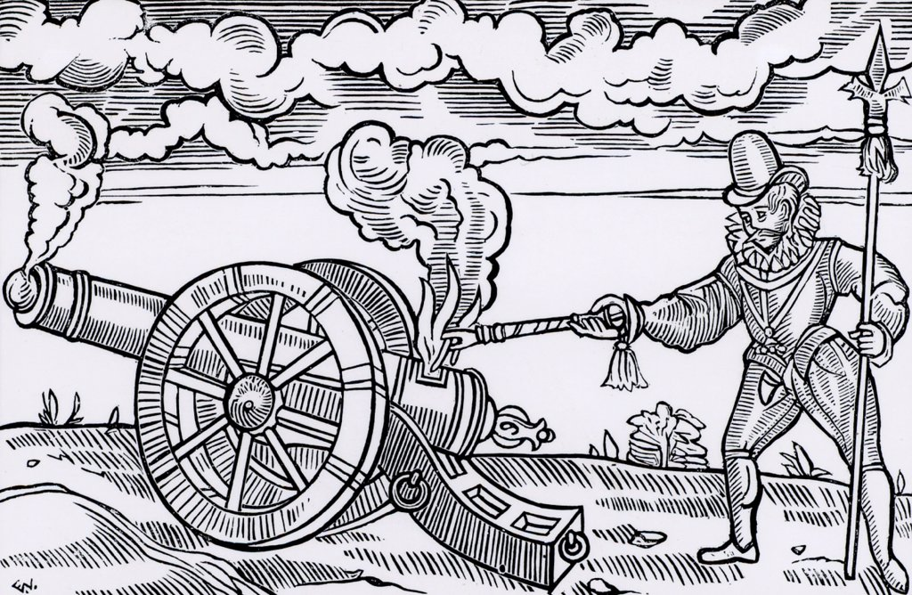 Stock Photo: 1746-5019 Master gunner firing a cannon by applying fire to the breech. Woodcut from Tavels by Edward Webbe (London, 1590).