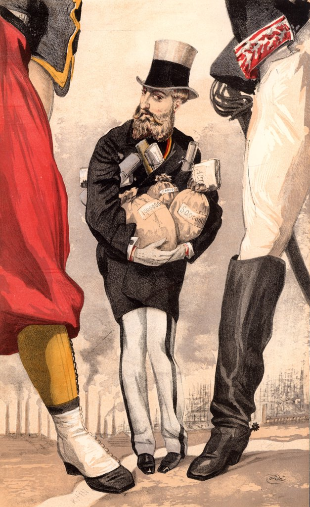 Leopold II of Belgium (1835-1909). Reigned from 1865. 'Un roi constituionnel' cartoon by 'Coide' (JJ Tissot - 1836-1902) for Vanity Fair (London, 9 September 1869).  This shows Leopold clasping the wealth of industrious Belgium while keeping a wary eye on the jackboot of Germany and  the foot of France, Belgium's  threatening neighbours. Chromolithograph. : Stock Photo