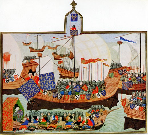 Joint French and English expedition setting out, at request of the Genoese, to battle with African corsairs (pirates) who were a threat to Genoese shipping 1390 : Stock Photo