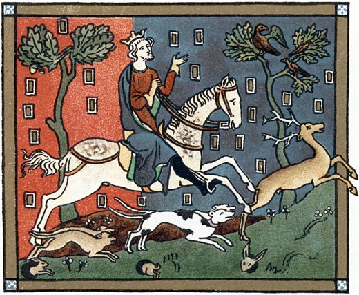 Stock Photo: 1746-515 John (1167-1216) Plantagenet king of England from 1199, out hunting, Chromolithograph after a medieval manuscript,