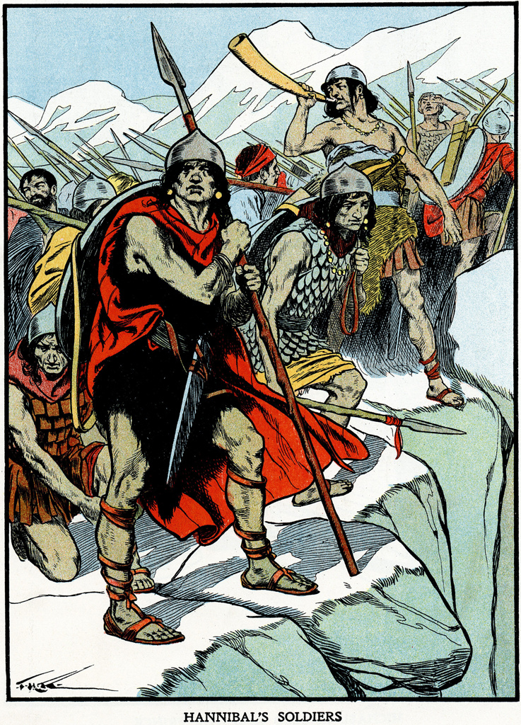 Stock Photo: 1746-5195 Carthaginian general Hannibal's army crossing the Alps 218 BC to do battle with the Romans. Second Punic War. Early 20th century illustration.