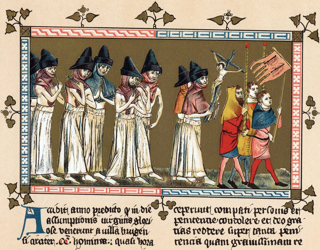 Stock Photo: 1746-5244 Flagellants or Brothers of the Cross in Netherlands town of Doornik 1349 scourging themselves as they walk through streets in order to free world from Black Death (Bubonic Plague). Chromolithograph after  Chronica Aegidii Li Muisius.