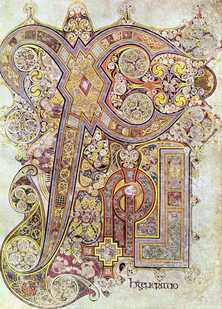 Monogram page from The Book of Kells Christi Auteum Generatio 6th century manuscript of the Four Gospels : Stock Photo