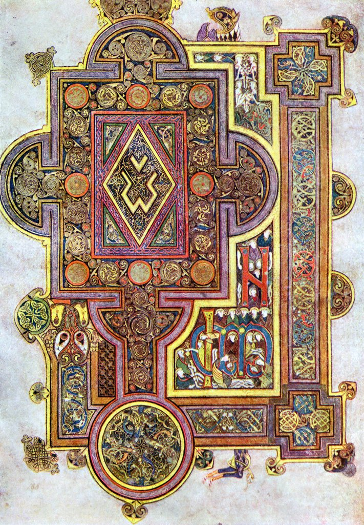 Stock Photo: 1746-5286 Opening words of St Luke's Gospel Quoniam. Book of Kells 6th century manuscript of the Four Gospels