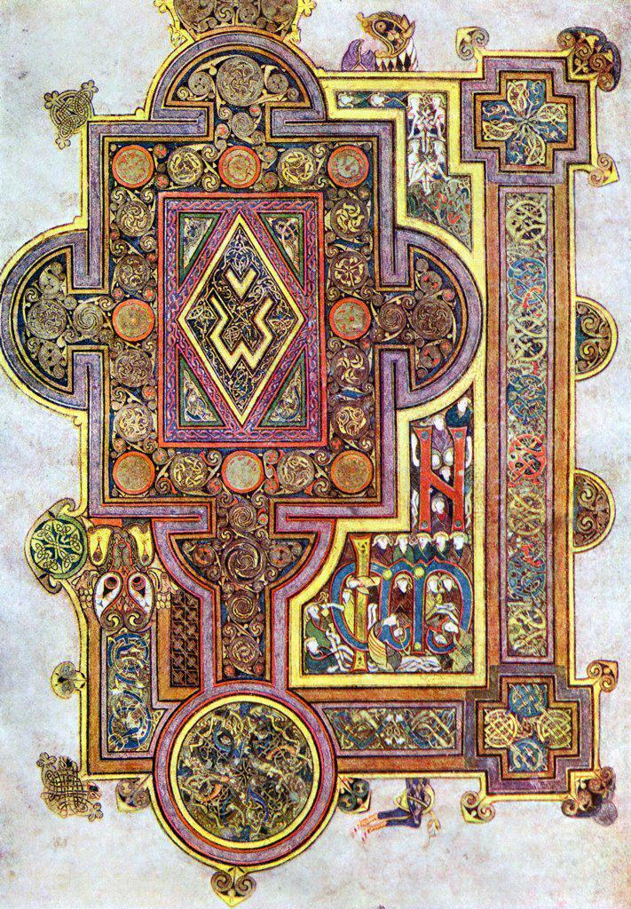 Opening words of St Luke's Gospel Quoniam. Book of Kells 6th century manuscript of the Four Gospels : Stock Photo