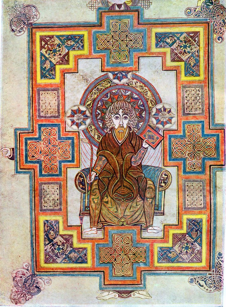 Portrait of Saint John. Book of Kells, 6th century manuscript of the Four Gospels : Stock Photo