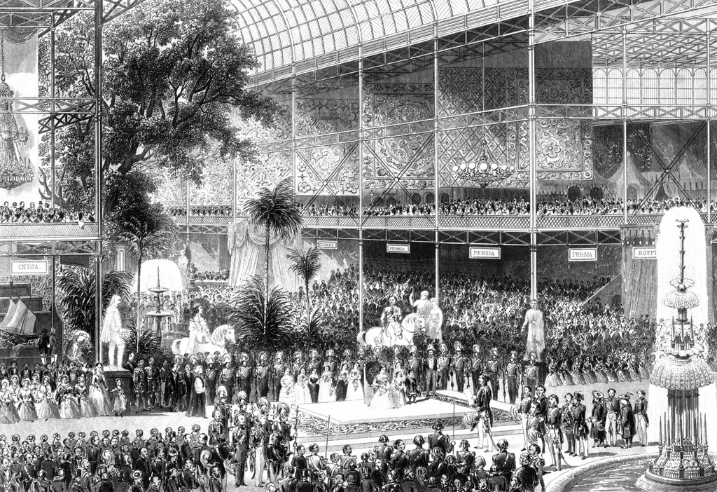 Stock Photo: 1746-5337 Great Exhibition, Crystal Palace, London. Queen Victoria opening exhibition 1 May 1851. Engraving.