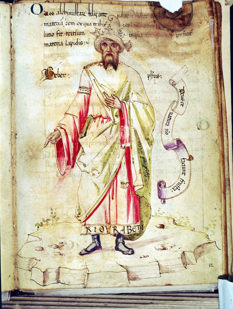Stock Photo: 1746-5358 Jabir Ibn Hayyan, Abu Musa (c721-c815 - Al Jabir: Geber) Arab alchemist. Court physician to Harun al-Rashid. From manuscript in Biblioteca Medicea Laurensiana, Florence, Italy