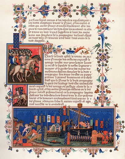 'Crusaders embarking for the Holy Land. Page from 15th century ''Statutes of Order of Saint Esprit''. Banners show Papal arms, those of Holy Roman Emperor and the kings of England, France and Sicily. Chromolithograph' : Stock Photo