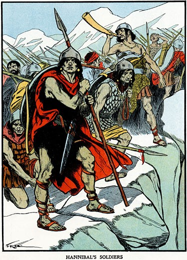 Carthaginian general Hannibal's army crossing the Alps 218 BC to do battle with the Romans. Second Punic War. Early 20th century illustration : Stock Photo