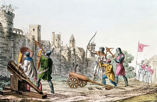 Stock Photo: 1746-592 Hundred Years War between France and England. English troops attacking the walls of a French town with early cannon and both longbows and crossbows (1375-1425) Hand-coloured lithograph c1830