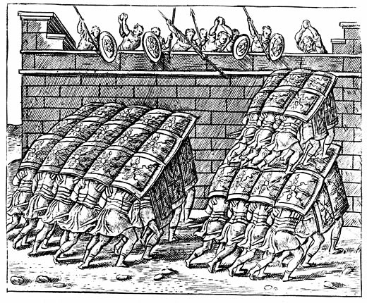 Stock Photo: 1746-603 Roman soldiers forming a Tortoise with their shields and approaching the walls of a besieged fortress, From Poliorceticon sive de machinis tormentis telis by Justus Lipsius (Antwerp, 1605), Engraving