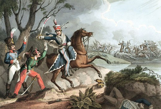 Stock Photo: 1746-609 Napoleonic Wars: Battle of Albuera 16 May 1811, Beresford defeats Soult. Sergeant of 18th Hussars (British) takes French officers prisoner. Hand-coloured aquatint after W Heath 1817