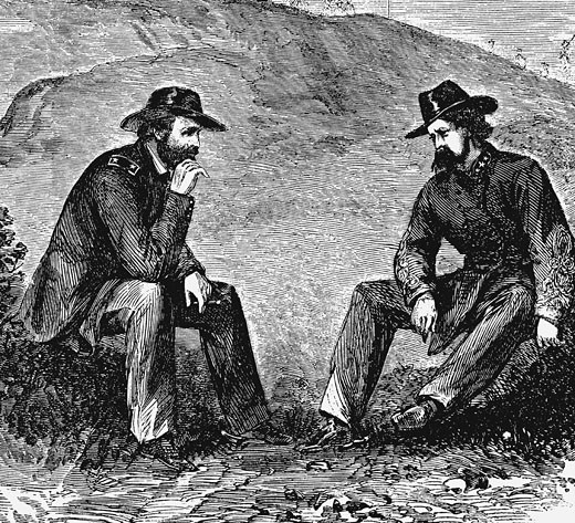 Stock Photo: 1746-626 Union General Ulysses S. Grant (left) negotiating terms with Confederate General John Clifford Pemberton for surrender of Vicksburg American Civil War 1861-1865 Engraving