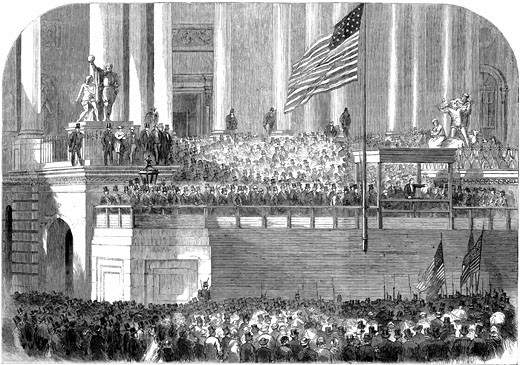 Abraham Lincoln (1809-1865) delivering his inaugural address as President in front of the Capitol, Washington on 4 March 1861. Wood engraving : Stock Photo
