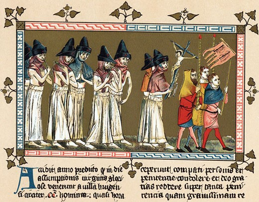 "Flagellants or Brothers of the Cross in Netherlands town of Doornik 1349 scourging themselves as they walk through streets in order to free world from Black Death (Bubonic Plague). Chromolithograph after  ""Chronica Aegidii Li Muisius"" : Stock Photo"