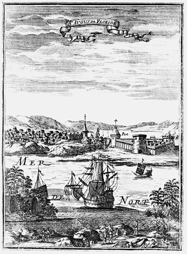 "Stock Photo: 1746-691 St Augustine, Florida Copperplate engraving from Allain Manesson Mallet ""Description de l'Univers..."" Frankfurt-am-Main, 1686"