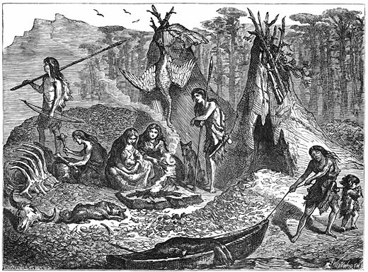 Stock Photo: 1746-692 Shell Mound People or Kitchen-Middeners. Late Mesolithic-early Neolithic 4,000-2,000 BC. North & South Europe, Iberia, North Africa, North & South America similar patterns found. Artist's impression c188. Engraving