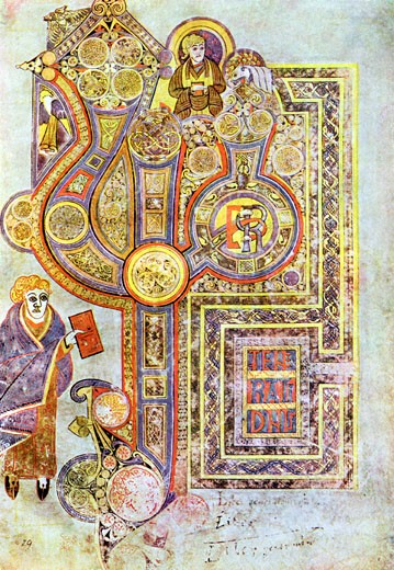 Stock Photo: 1746-699 Opening words of St Matthew's Gospel Liber Generationes. From The Book of Kells. 6th century manuscript of the Four Gospels