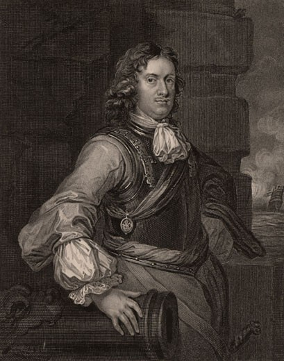 Edward Montagu, lst Earl of Sandwich, (1625-72) English naval commander, After portrait by Peter Lely, Engraving : Stock Photo