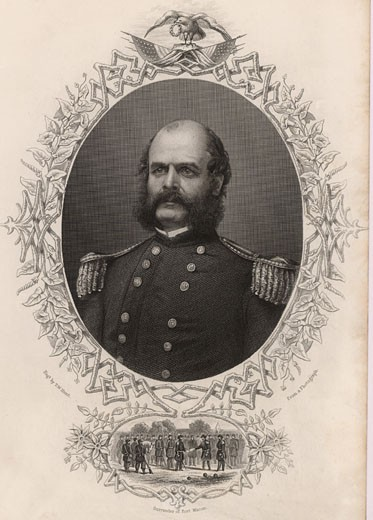 General Ambrose E. Burnside (1824-1881) Union Army Commander During The American Civil War Engraving : Stock Photo