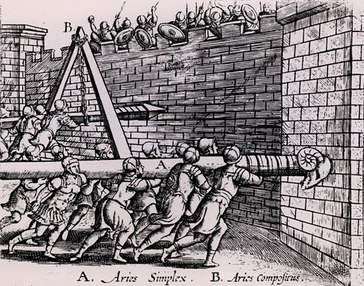 Roman soldiers using two forms of battering ram against the walls of a fortress, From Poliorceticon sive de machinis tormentis telis by Justus Lipsius (Antwerp, 1605), Engraving : Stock Photo