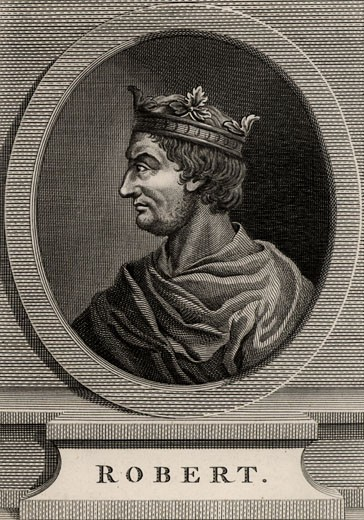 Robert II the Pious (971-1031), King of France, 1793, Copperplate engraving : Stock Photo