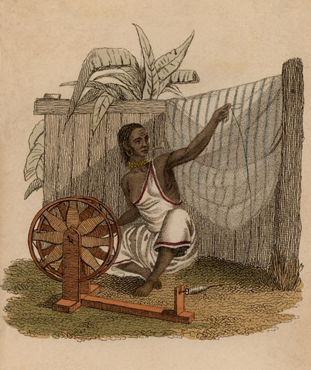 Indian woman spinning cotton using a simple spinning wheel, Hand-coloured engraving published Rudolph Ackermann, London, 1822 : Stock Photo