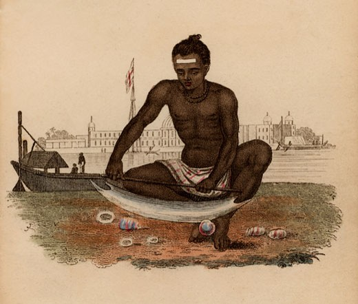 Stock Photo: 1746-801 Indian Shell-cutter holding the shell with his feet and cutting with blade mounted on handle, Hand-coloured engraving published Rudolph Ackermann, London, 1822