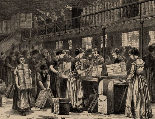 Stock Photo: 1746-853 Women and girls and a young boy at work in Bryant & May's match factory, Fairfield Road, Bow, London, From The Illustrated London News (London, 1871), Engraving