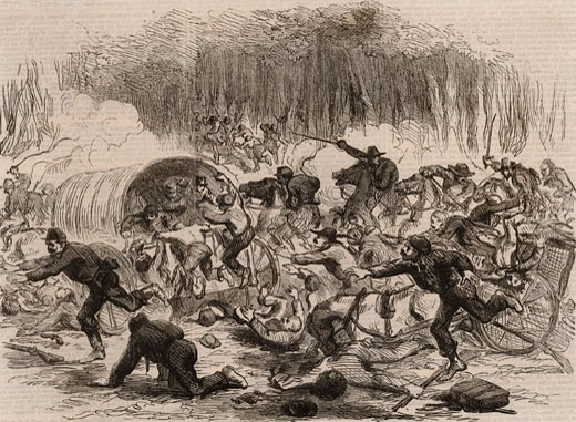 "Stock Photo: 1746-860 The Stampede from Bull Run, July 21, 1861 during American Civil War From ""The Illustrated London News"" (London, August 17, 1861) Frank Vizetelly (1830-1883 English) Engraving"
