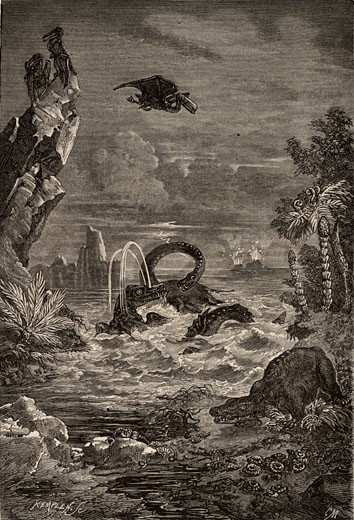 Imaginative reconstruction of the Earth during the time of the dinosaurs, From Astronomie Populaire by Camille Flammarion (Paris, 1881), Engraving : Stock Photo