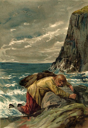 Stock Photo: 1746-892 19Th Century, Adult, Art, British Artist, Casual Clothing, Characters, Cliff, Cloud, Color Image, Daniel Defoe, Day, Full Length, Hero, History, Horizon Over Water, Illustration, Illustration And Painting, John Watson Dawson, Lying, Nature, One Man Only, One Person, Outdoors, Painted Image, Painting