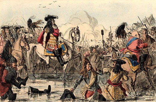 Stock Photo: 1746-895 William III (1650-1702), King of Great Britain, The Protestant William at the Battle of the Boyne, Ireland where he defeated supporters of the deposed Roman Catholic James II, John Leech, (1817-1864 British) , Hand-coloured wood engraving