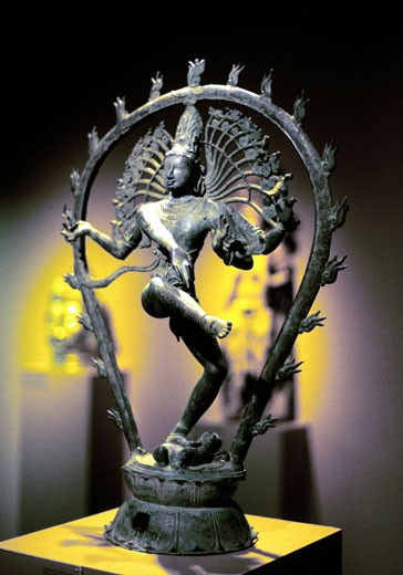Stock Photo: 1746-905 Siva (Shiva) Hindu god with contrasting qualities of destructive and renovating power. God of arts, ascetics and learning. Third member of Hindu Trimurti. 950 AD bronze from Tamil Nadu, India