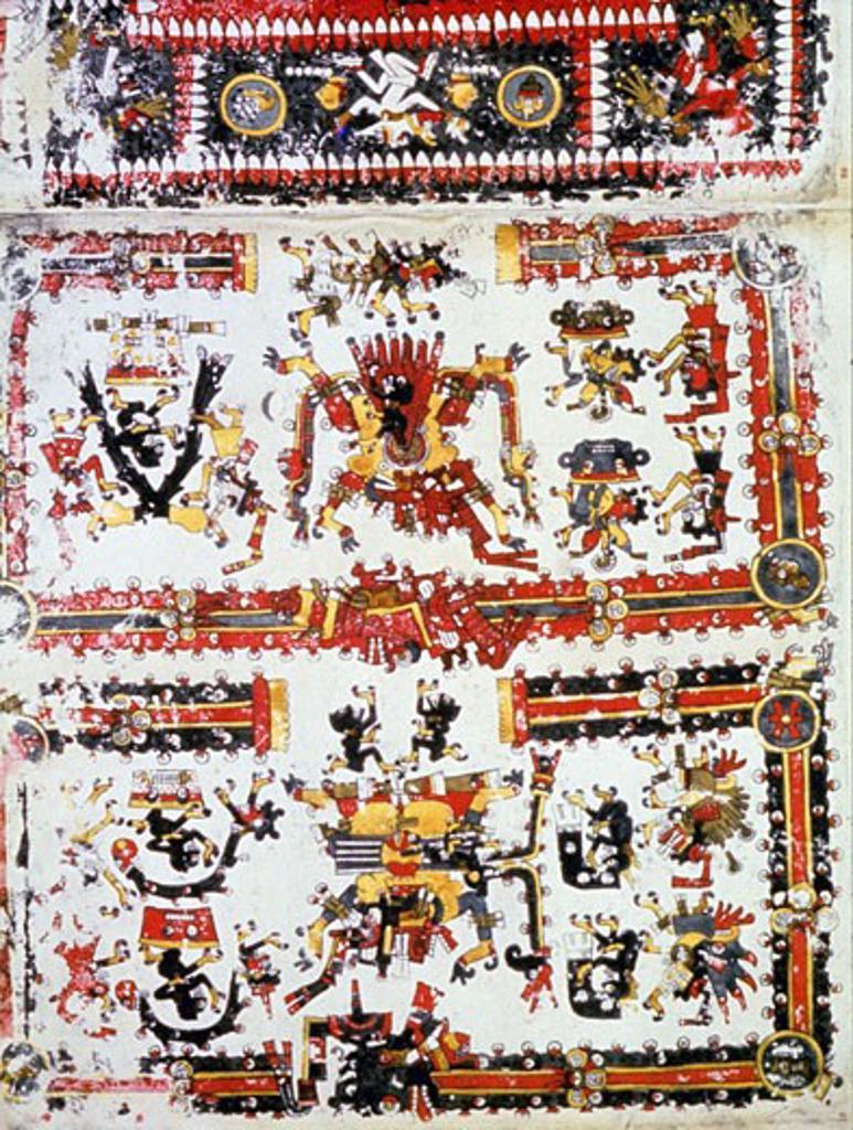 Pre-Columbian Mexico: Mixtec, Codex Borgianus showing confronting deities. Vatican Museum, Rome: 12th-16th centuries : Stock Photo