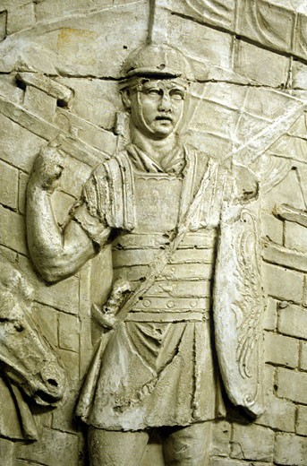 Stock Photo: 1746-929 Roman legionary on sentry duty, from Trajan's column