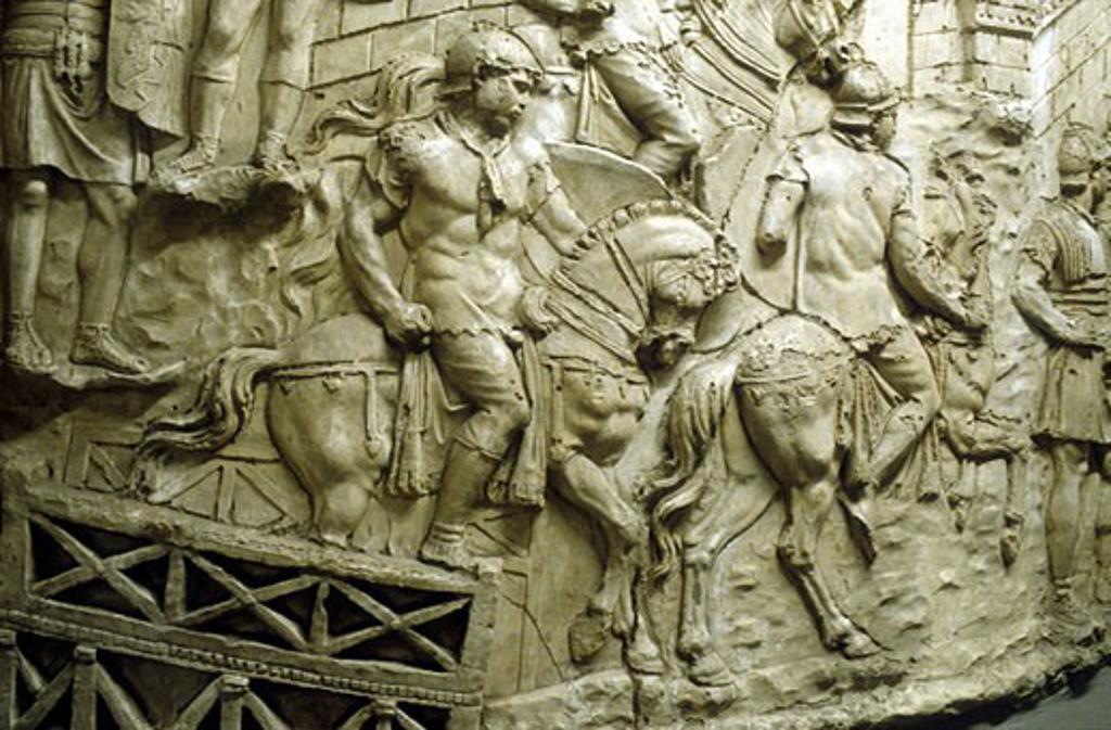 Roman cavalry crossing a wooden bridge: from Trajan's column : Stock Photo