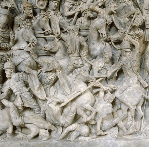 Stock Photo: 1746-931 Roman soldiers taking part in Decursio - ritual circling of funeral pyre. Detail of relief from the Antonine Column, Rome erected c180-196  by Commodus