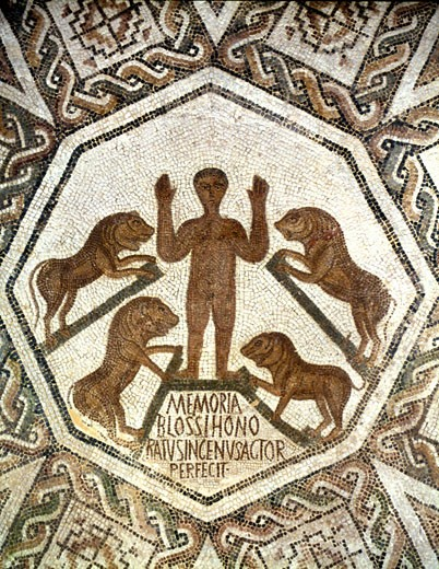 Stock Photo: 1746-935 Roman mosaic showing Daniel, one of four great Hebrew prophets, cast into the Lions' den by Nebuchadnezzar (Nebuchadrezzar) king of Babylon. 5th century AD. Bardo Museum, Tunis'