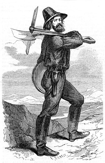 "Mining prospector in the Californian gold fields. From ""L'Illustration"" Paris 18 June 1853. Wood engraving : Stock Photo"