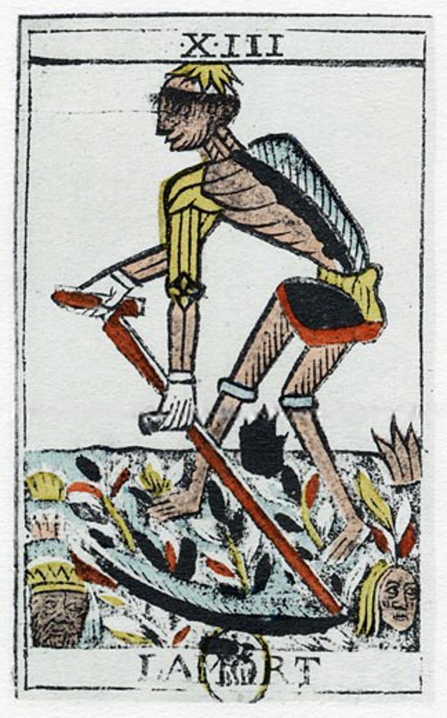 Tarot Card of Death, the grim reaper. Noblet tarot, 17th century. : Stock Photo