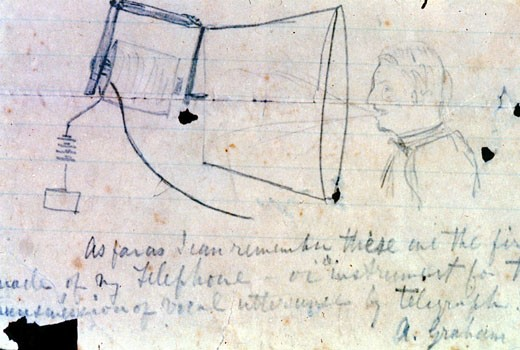 Alexander Graham Bell (1847-1922) Scottish-born American inventor. Sketch of his telephone of 1876. Library of Congress : Stock Photo