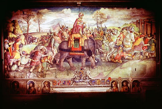 Stock Photo: 1746-997 Hannibal (247-182 BC) Carthaginian general. Hannibal and his army crossing the Alps with elephants to make war on Rome 218 BC. Collection Palazzo dei Conservatori