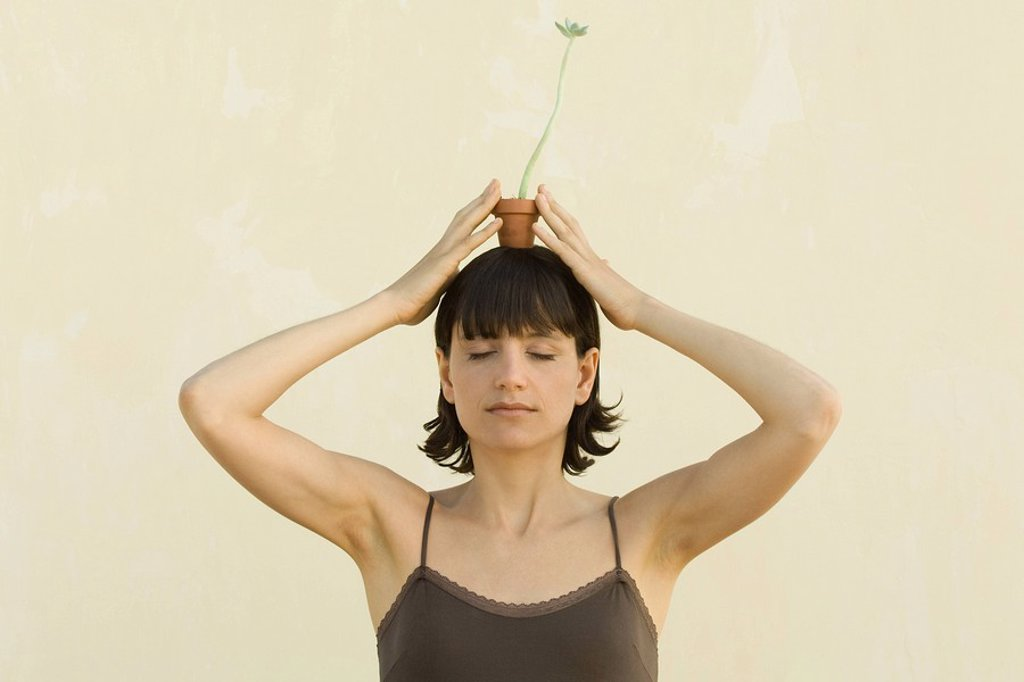 Woman balancing small potted plant on her head : Stock Photo