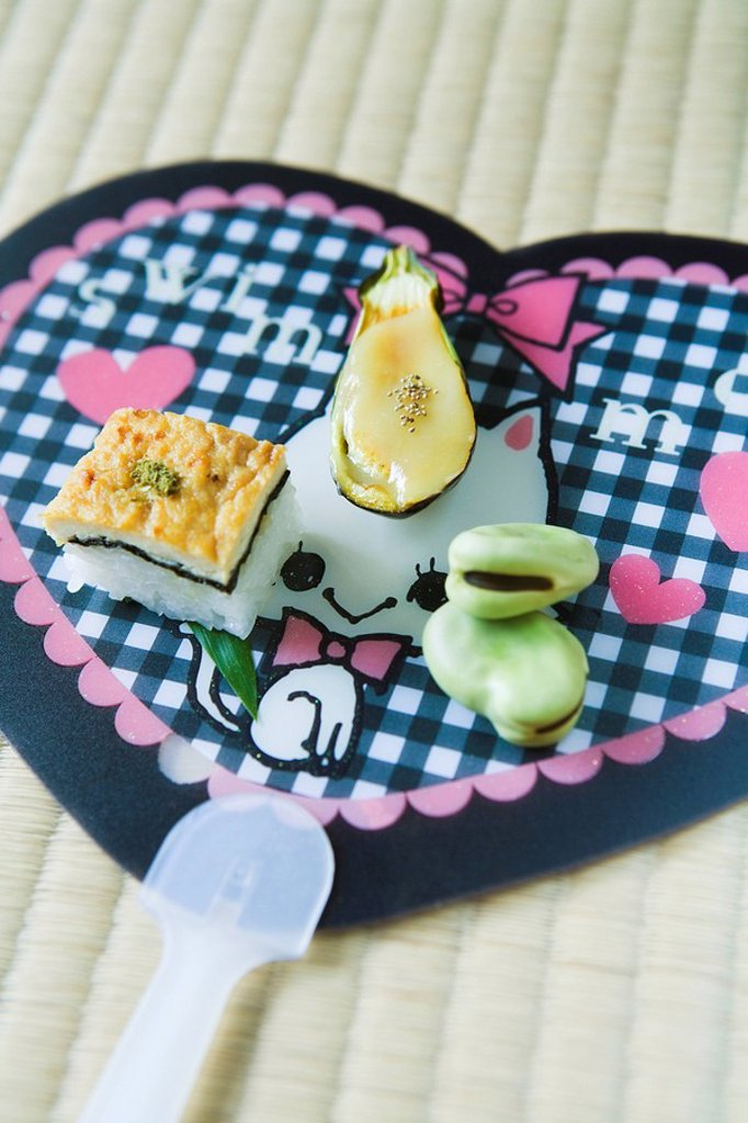 Japanese appetizers, tofu seaweed and rice square, eggplant with tofu sauce and fresh broad beans : Stock Photo