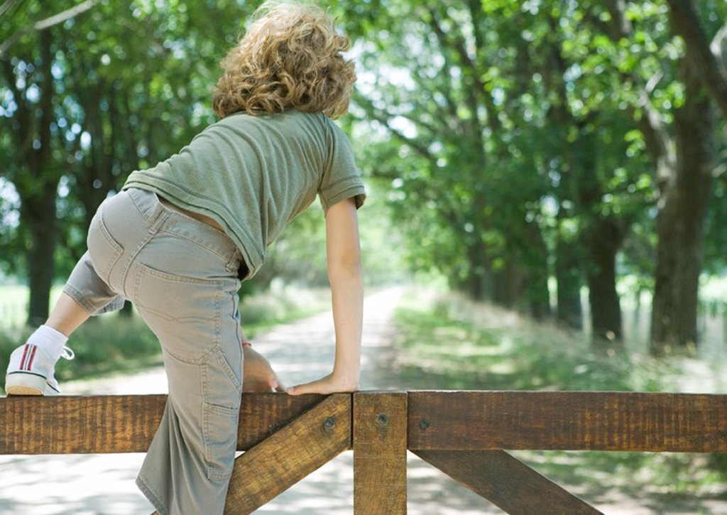 Stock Photo: 1747R-13569 Boy climbing fence, rear view